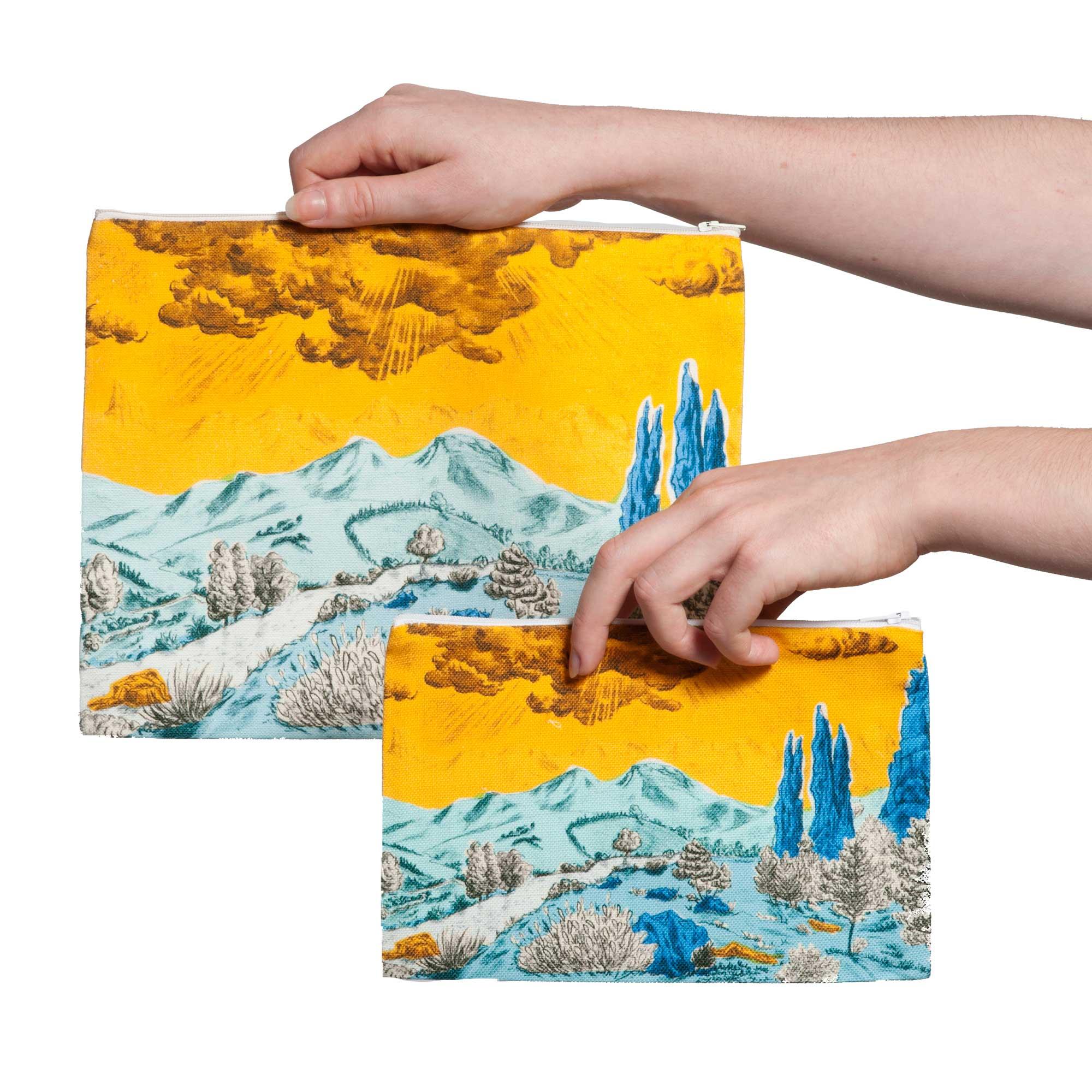 Pochette collection Dormeurs jaune/bleu Céline Dominiak, tailles M et L, verso