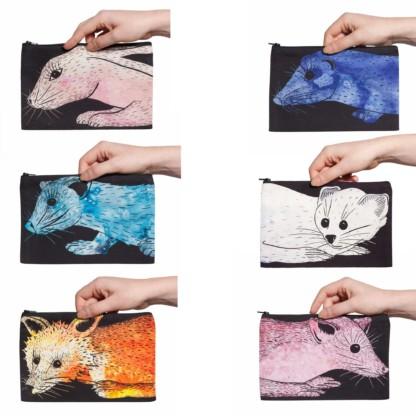 Six pochettes collection Fourrures de Celine Dominiak avec différents animaux : Lapin, Vison, Zibeline, Hermine, Renard et Martre recto