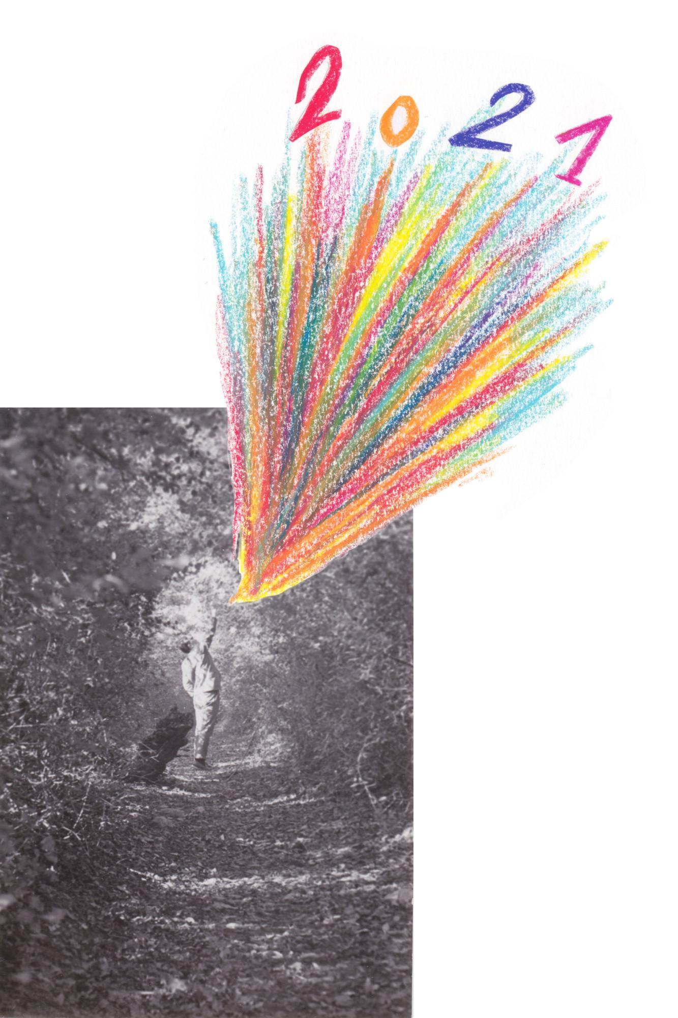 Homme qui transforme le paysage d'un geste - Collage dessin sur photographie noir et blanc de Céline Dominiak