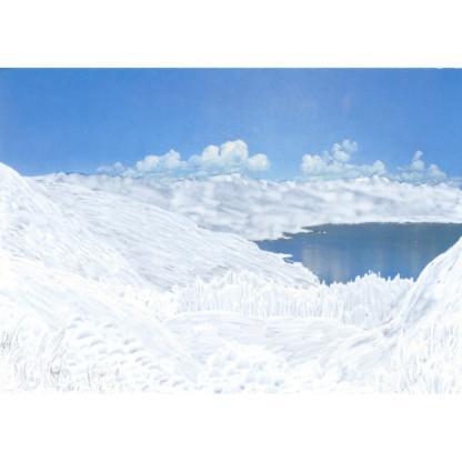 Calmes Blancs #7 dessin sur carte postale, paysage de Céline Dominiak