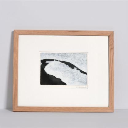 Dessin sur carte postale Calmes blancs 8 , encadré, de Céline Dominiak
