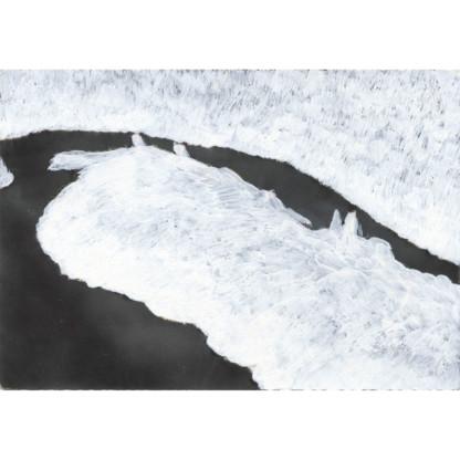 Calmes Blancs #8 dessin sur carte postale, paysage de Céline Dominiak