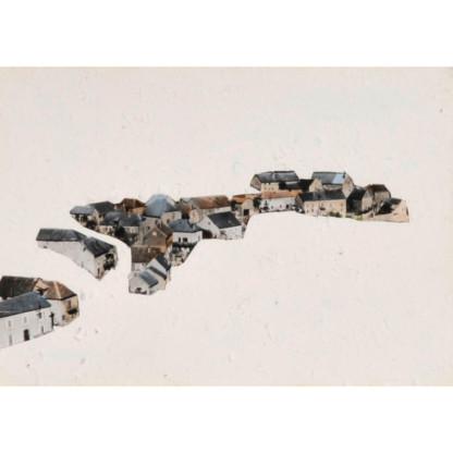 Mirages #07 Dessin au cutter sur carte postale, de Céline Dominiak