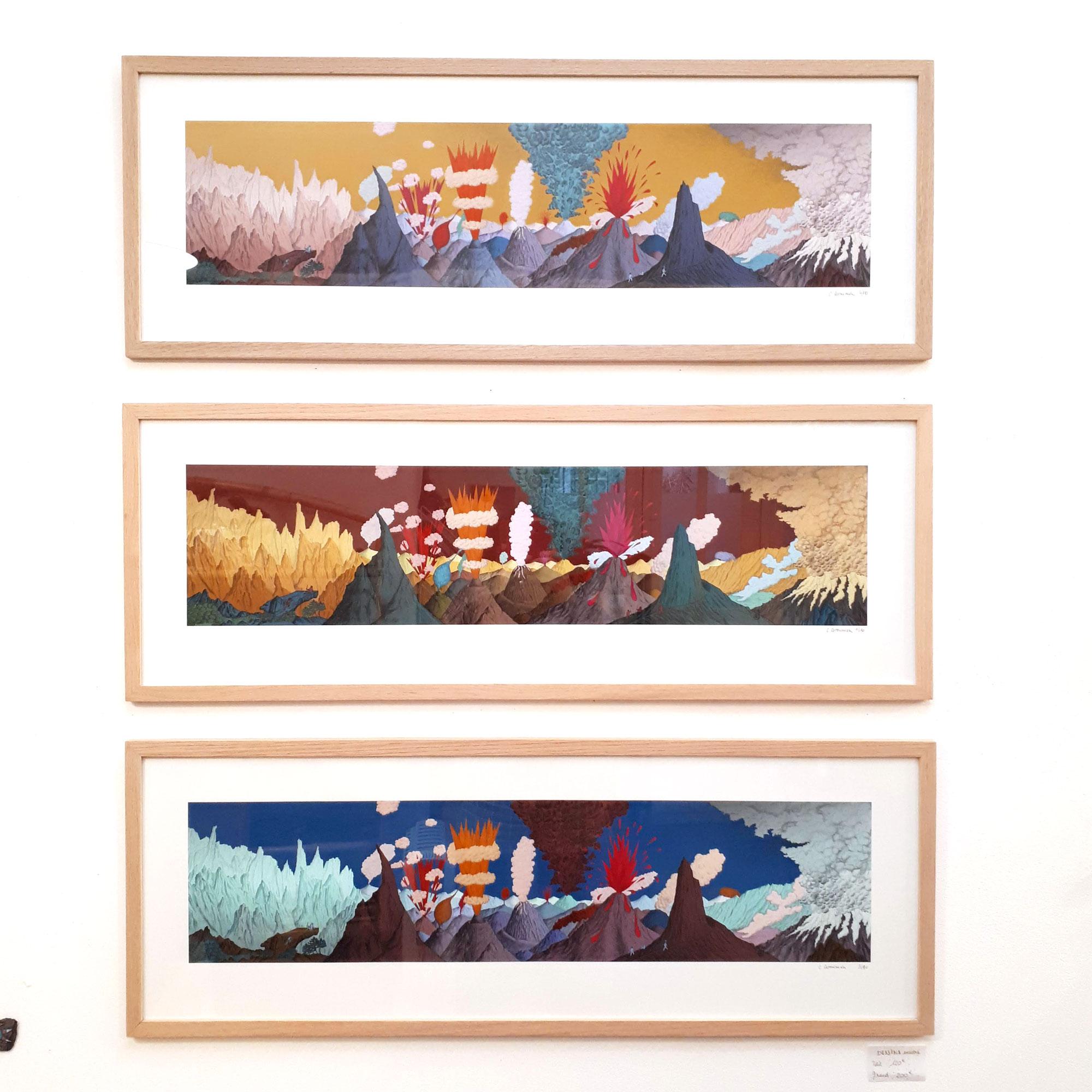 Trois dessins Volcans de Céline Dominiak encadrés