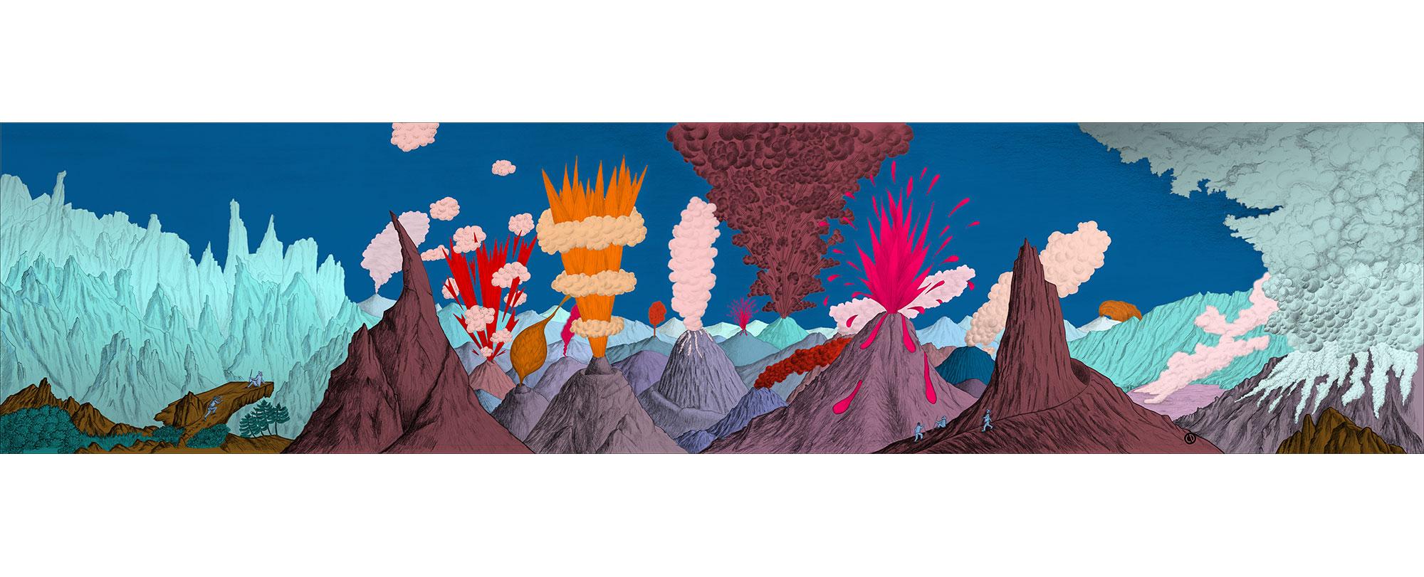 Dessin Paysage volcanique ciel bleu de Céline Dominiak