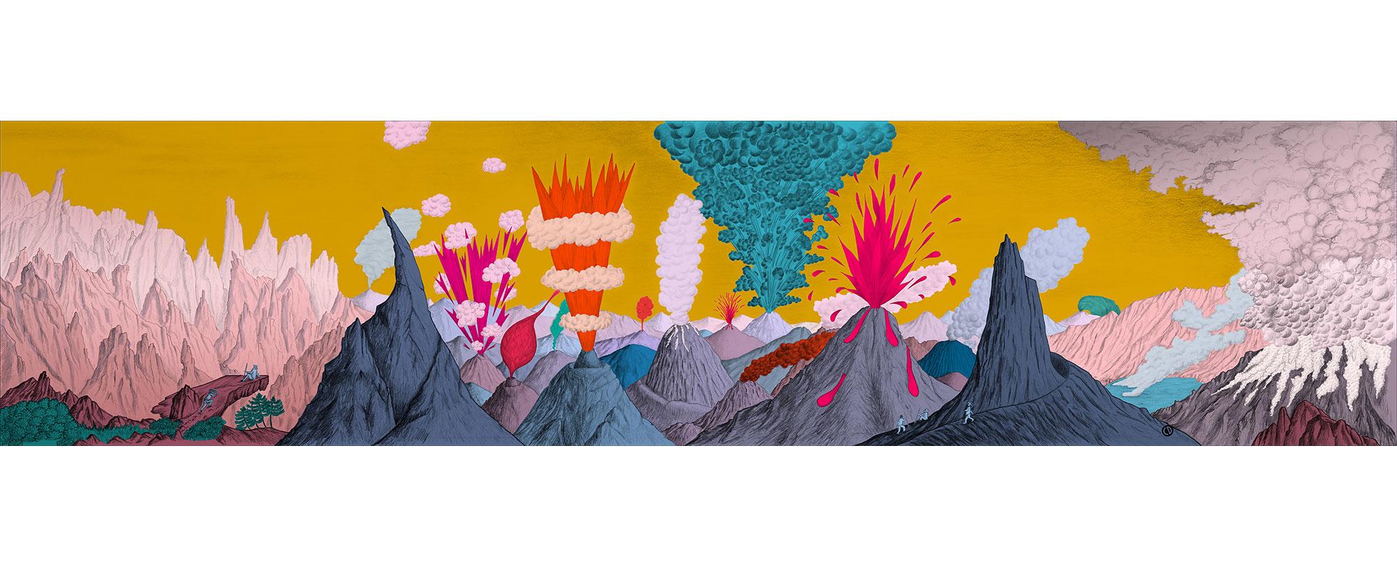 Dessin Paysage volcanique ciel jaune de Céline Dominiak