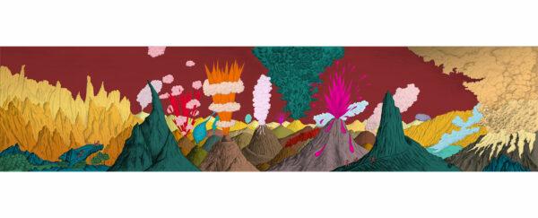 Dessin Paysage volcanique ciel prune de Céline Dominiak