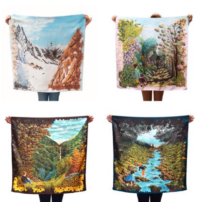 Quatre foulards en soie représentant des paysages de Céline Dominiak