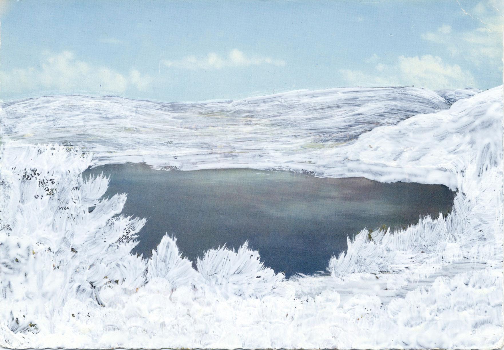 Calmes Blancs #06 dessin sur carte postale, paysage de Céline Dominiak