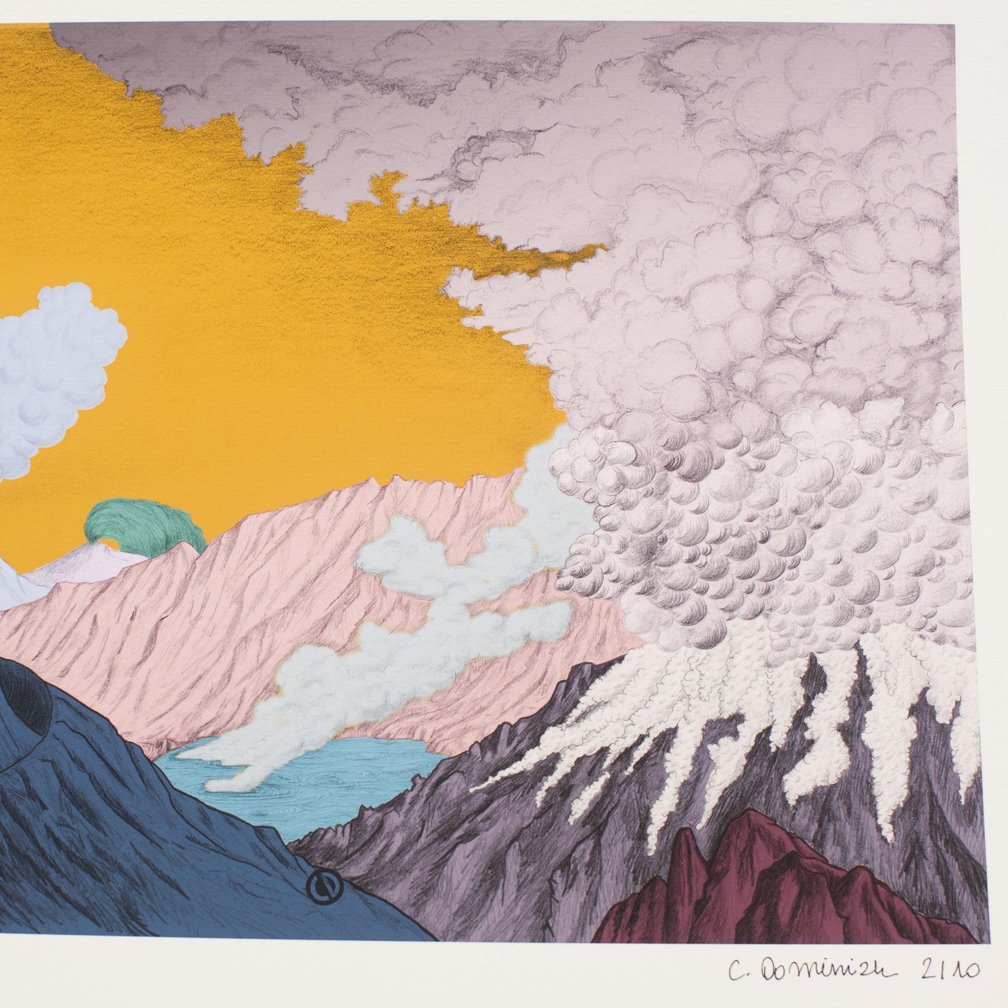 Détail avec signature dessin volcan impression papier