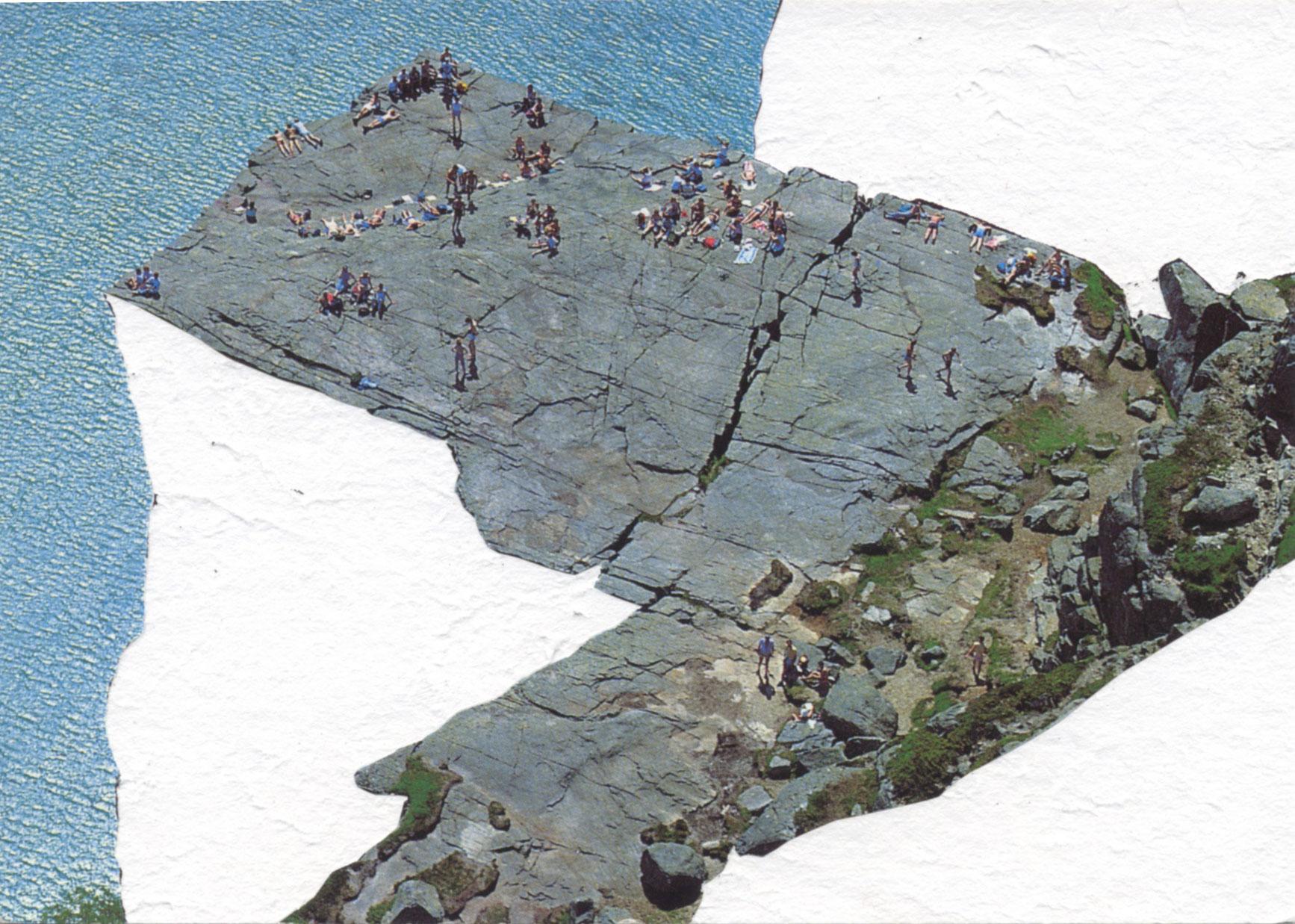 Mirages 08 - dessin sur carte postale (vagues) de Céline Dominiak