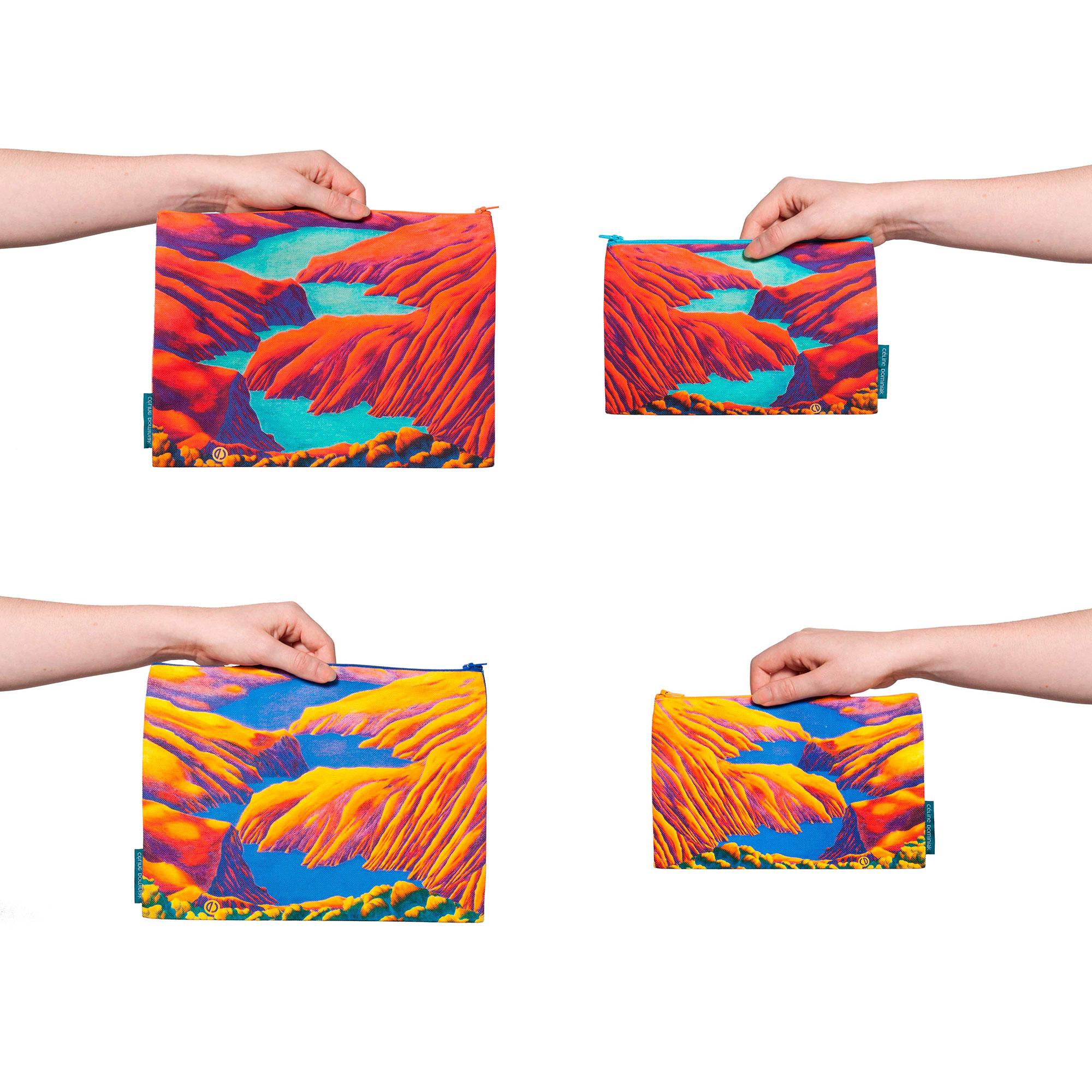 Pochettes en tissu Rêves martiens rouge et jaune de Céline Dominiak
